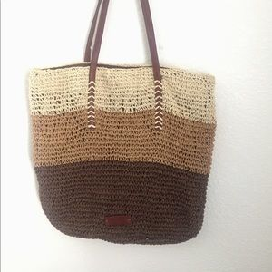 Large Lucky Brand, color block straw tote